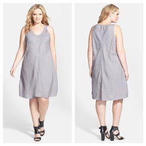 [Eileen Fisher] Gray V-Neck Bias Cut Linen Dress